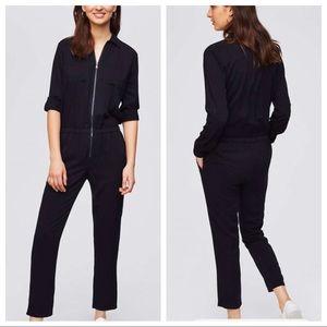LOFT black jumpsuit NWT zip up size small